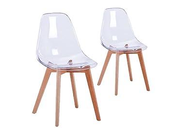 usinestreet lot de 2 chaises scandinaves lund coque transparent et pieds bois couleur transparent - Chaise Transparente Pied Bois