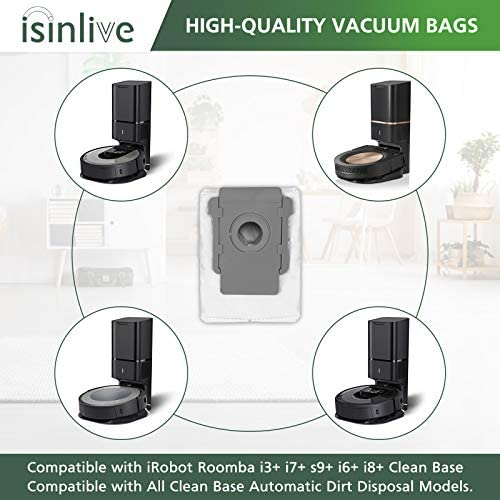 isinlive Vacuum Bags Compatible iRobot Roomba i3+(3550) i7+(7550) s9+(9550) i6+(6550) i8+(8550) Clean Base Automatic Dirt Disposal Bags, 12 Pack