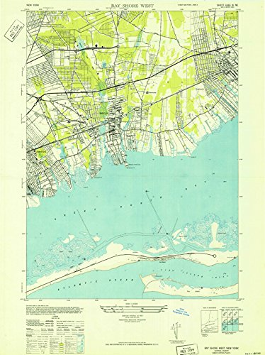 New York Maps | 1941 Bay Shore West, NY USGS Historical Topographic Map | Cartography Wall Art | 18in x -