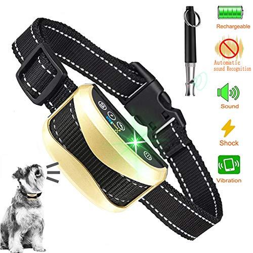 (XmnDaue Bark Collar[2019 Upgrade Version] Dog No Bark Collars Upgrade 7 Sensitivity, Intelligent Alarm Sound,IP67 waterproo,LCD Display,USB Rechargeable Anti-Barking Collar)