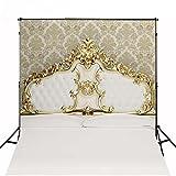 5x7ft Golden Tufted Headboard Bed Photography Backdrops Vinyl Damask Wallpaper Kids Newborn Baby Shower Studio Props