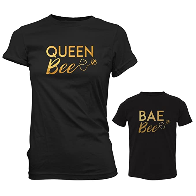 a644390a3868b FSD Queen Bee Mom and Bae Bee Toddler Matching Shirts Mommy and Me -  Mother's Day