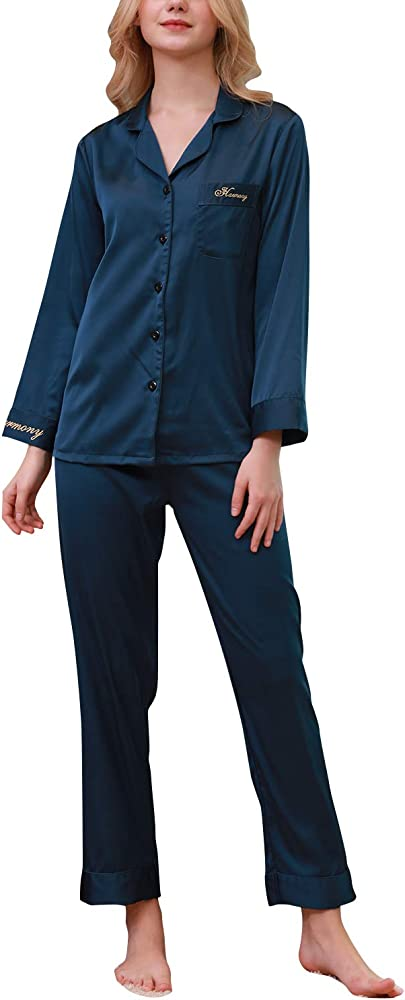 YAOMEI Pijamas Camisón para Mujer, 2019 2 Pcs Mujer Largo Camisones Raso Satin Parejas Pijamas, lencería Collar de botón con Botones Satén Neglige Lencería Ropa de Dormir (M, Azul): Amazon.es: Ropa y