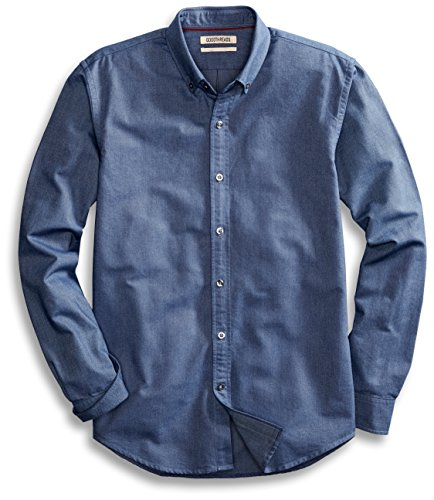 Goodthreads Men's Standard-Fit Long-Sleeve Solid Oxford Shirt, Indigo, Large by Goodthreads