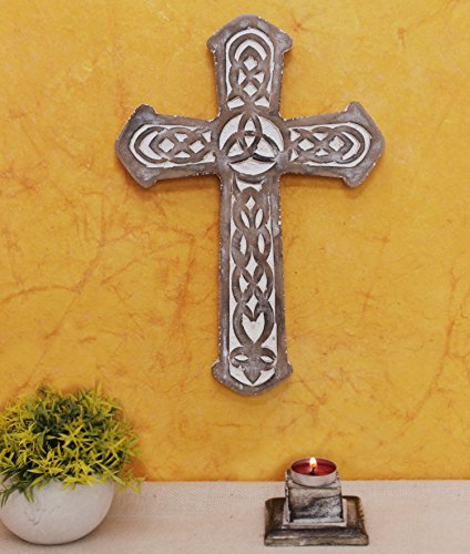 The StoreKing Father's Day Gifts Wooden Wall Hanging French Cross 12'' with Celtic Hand Carvings Religious Cross Home Living Room Decor (Design6) by The StoreKing (Image #3)