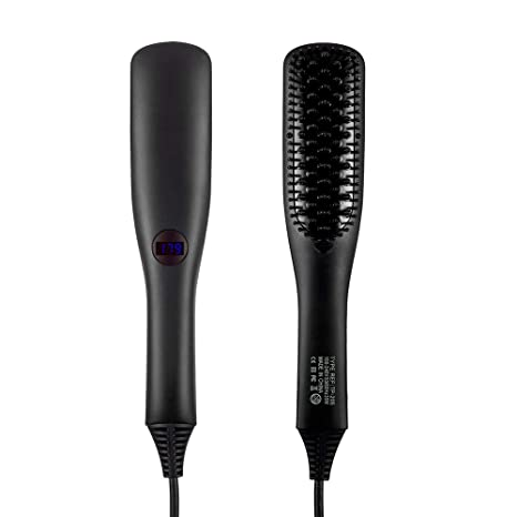 Longsuodia - Cepillo alisador de pelo, 2 en 1, cepillo eléctrico iónico para cabello