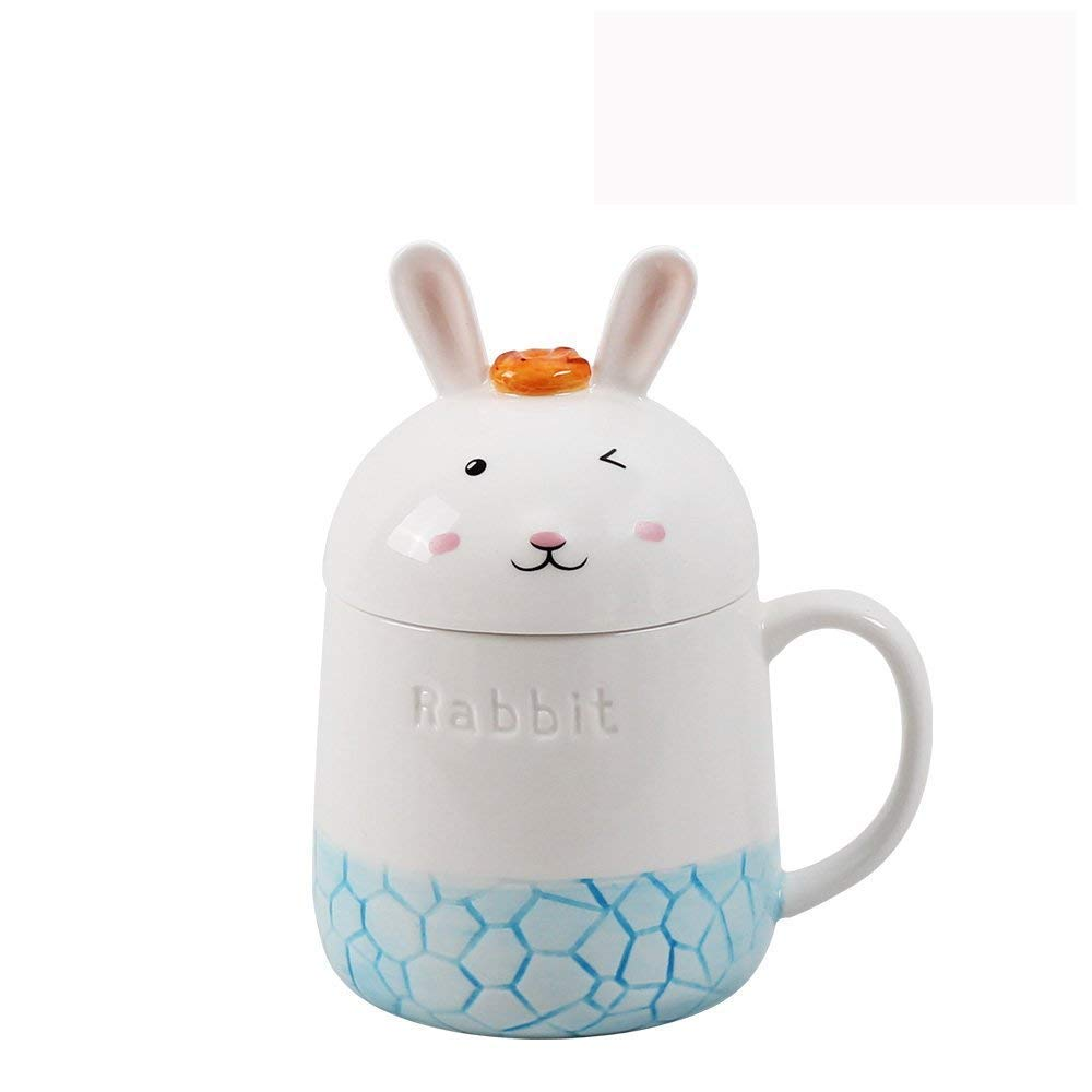 UPSTYLE 3D Cute Animal Coffee Mug Ocean Gradient Porcelain Coffee Milk Ceramic Mug Ceramic Travel Mug Tea Cup Tumbler with Lid and Handle Water Cup for Home, Office, 12.3oz (360ml) (Orange Jellyfish) CMBS4-2