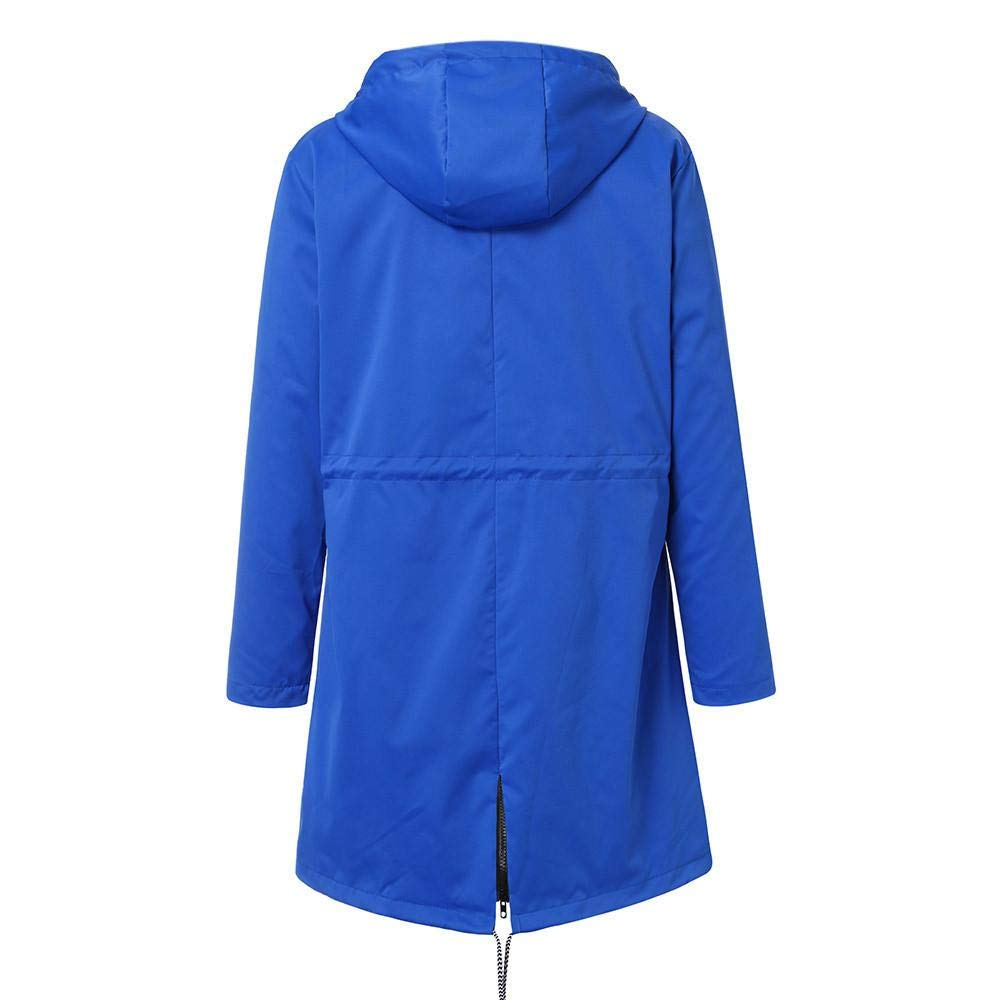 FIRALLY Veste de Pluie Femme Manteau Imperméable à Capuche Zippé Cape de Pluie Long Coupe-Vent à Manches Longues pour Sport Camping Randonnée S-5XL Bleu