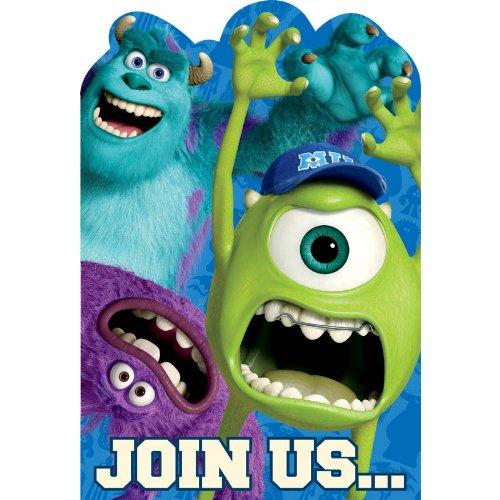 [Amscan Monsterrific Disney Monsters University Birthday Party Invitation Cards, Blue, 6 1/4