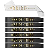 ALINK 7 Pcs Bride Tribe Bachelorette Party Sashes Set for Bridesmaids, Bride to Be Bridal Shower Party Sashes with 6 Gold Glitter Black and 1 White