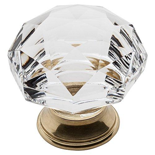 Baldwin Brass Round Pull - Baldwin Estate 4325.030 Round Crystal Cabinet Knob in Polished Brass, 1.75