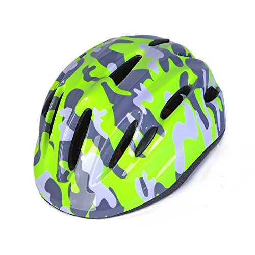 New Camo Design Small Light-Green Kids Girl Boy Toddler Children Street Road City Cycling Cycle Bike Helmets Light Hear Protective Gear Child Outdoor Yard Light Safety Helmets for Age -