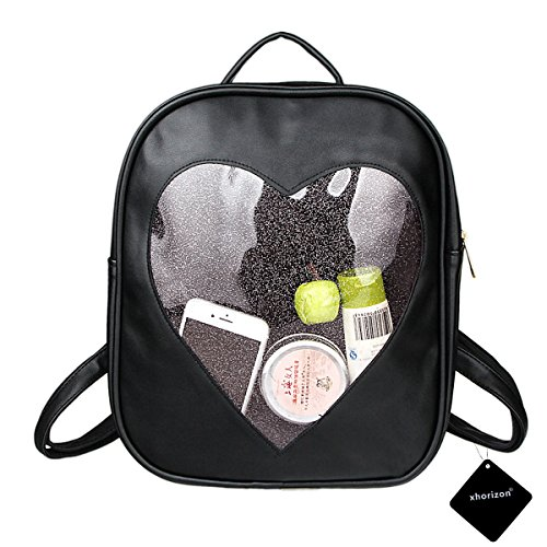 Xhorizon TM FL1 Candy Leather Backpack Plastic Transparent Heart Beach Girls School Bag (Black)
