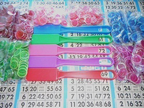 Speedy Markers Combo Pack - 10 Bags of Magnetic Bingo Chips (100 CT Each) + 5 Bingo Wands