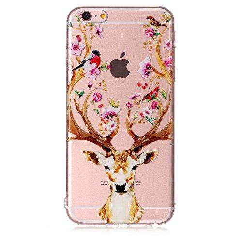 iPhone 6 / 6S Plus Hülle , Leiai Modisch Elch TPU Transparent Clear Weich Tasche Schutzhülle Silikon Handyhülle Stoßdämpfende Schale Fall Case Shell für Apple iPhone 6 / 6S Plus