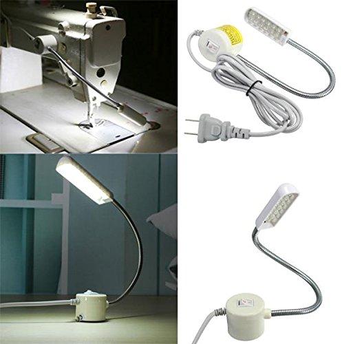 1W 220V Sewing Machine 12 LED Gooseneck Light Magnetic Base With US Plug (Regular, White)