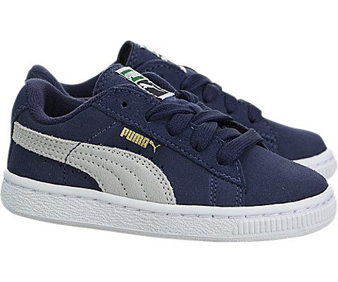 PUMA Suede Kids Classic Sneaker (Infant/Toddler/Little Kid/Big Kid), Peacoat/Team Gold, 8 M US Toddler