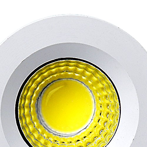 Elitlife 5Pack- 3W COB LED Mini Recessed Ceiling Downlight Kit 3000K Silver Aluminum Cover & Acrylic Mirror With LED Driver- ideal forliving room, bedroom,hallway,kitchen,office (Warm White) by Elitlife (Image #5)