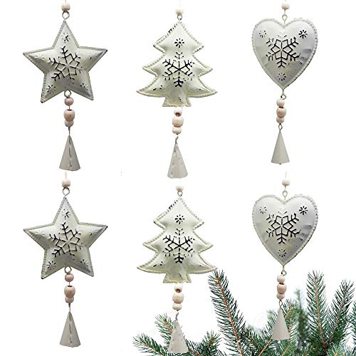tyoungg Farmhouse White Christmas Tree Ornaments Metal Pedant Chimes Hangings Home Arch Tableware Decoration Indoor Outdoor (6 pcs Metal Farm House pedants)