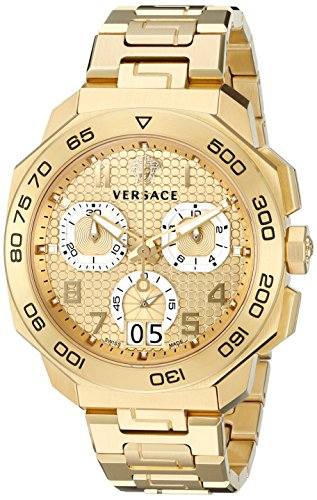 Versace-Mens-VQC040015-DYLOS-CHRONO-Analog-Display-Swiss-Quartz-Gold-Watch