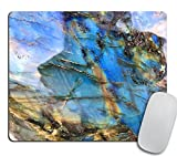 Labradorite Mouse Pad, Rainbow Moonstone Mousepad, Iridescent Holographic Stone Mouse Pad, Blue Flash Stone