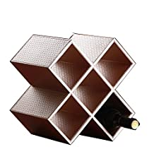 Table standing Leather Wine Racks-Stores 5 Bottle of Wine Holder Bar Beer Glass Storage Organizer (champagn gold)