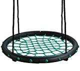 Movement God Spider Web Tree Swing with Adjustable Hanging Ropes – 24″ Diameter Kids Indoor/Outdoor Round Net Swing – Great for Tree, Swing Set, Backyard, Playground, Playroom (Green) Review