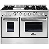 THOR KITCHEN HRG4808U 48in Stainless Steel Kitchen Cooker 6 Burner Gas Range with Double Oven