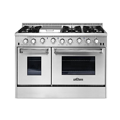 THOR KITCHEN HRG4808U 48in Stainless Steel Kitchen Cooker 6 Burner Gas Range with Double Oven (Range Stainless Steel Gas Double)