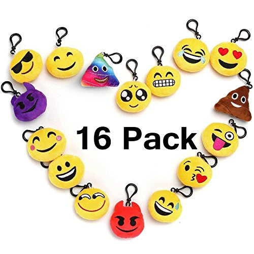 "(Emoji Keychain Party Favors For Kids, 16 Pack 2"" Mini Emoji Plush Pillows For Party Decorations, Kids Party Supplies Goody Bags Fillers)"