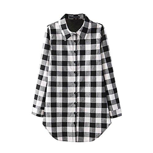 Robe Manche Carreau Blouse Manner Femme Chemise Shirt Bold Casual Noir Longue Tops Longue Loose w40qTwzxZ