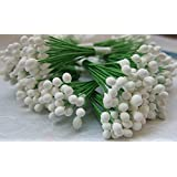 300 White Stamen Pollen Flower Craft Artificial Scrapbook Floral Round Wire Stem Card