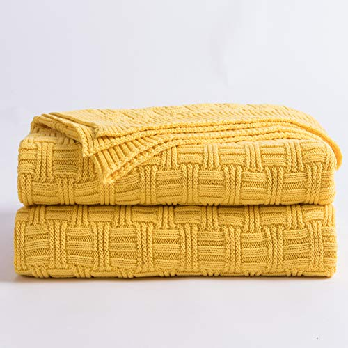 Longhui bedding Cotton Yellow Knit Throw Blanket for Couch Sofa Beach Chair Bed Home Decorative Soft Warm Cozy Cable Lightweight Knitted Blankets,Gold Color 50 x 60 Inch