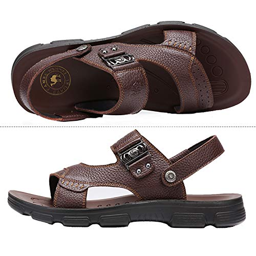 Brown2 for Water Beach Fashion Indoor Sandals CROWN Mens Treads Summer Leather CAMEL Slippers Walking Beach Comfortable TUfFn