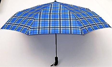 Blue Drop - Paraguas gigante unisex, plegable, automático, cortavientos, pararrayos, con motivo escocés, diámetro de 125 cm: Amazon.es: Equipaje
