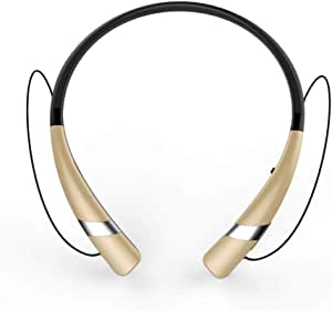 Bluetooth Neckband Headset, Flexible Wireless Stereo Headset for Smartphones by Datazone, Gold DZ-HV-960