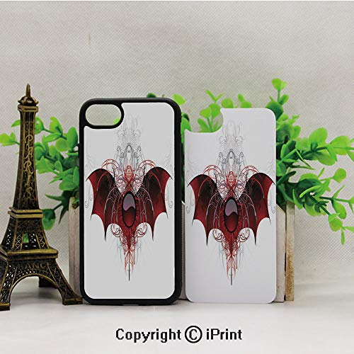 - iPhone 8 Case,iPhone 7 Case,Round-Figure-with-Dragon-Wings-Grungy-Display-Victorian-Ornaments-Antique-Style-Decorative,Lining Hard Shell Shockproof Full-Body Protective Case Cover