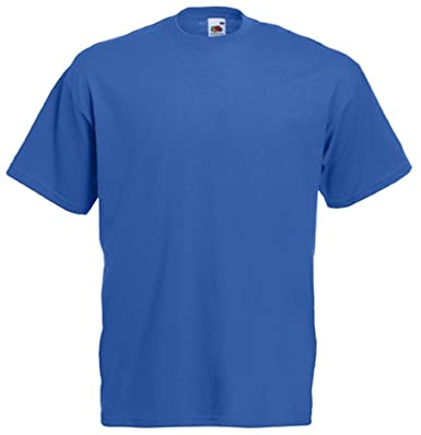 1adc5c8fb9fc Royal Blue T-Shirt Fruit of The Loom Plain Tee Apparel Clothing for him  her: Amazon.co.uk: Clothing