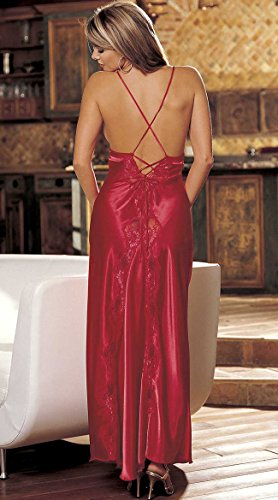 (Shirley of Hollywood Women's Charmeuse and Lace Long Gown, Red,)