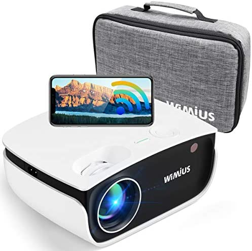 "WiFi Projector, WiMiUS S25 Portable Mini Bluetooth Projector w/ 5000:1 High Contrast | HDR Input Support 1080P, Zoom to 50% by means of Step & 200"" Screen 