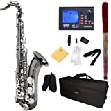 Mendini B-Flat Tenor Saxophone, Black Nickel Plated with Nickel Plated Keys and Tuner, Case - MTS-BNN+92D