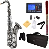Mendini by Cecilio MTS-BNN+92D Black Nickel Plated and Nickel Plated Keys B Flat Tenor Saxophone with Tuner, Case, Mouthpiece, 10 Reeds and More