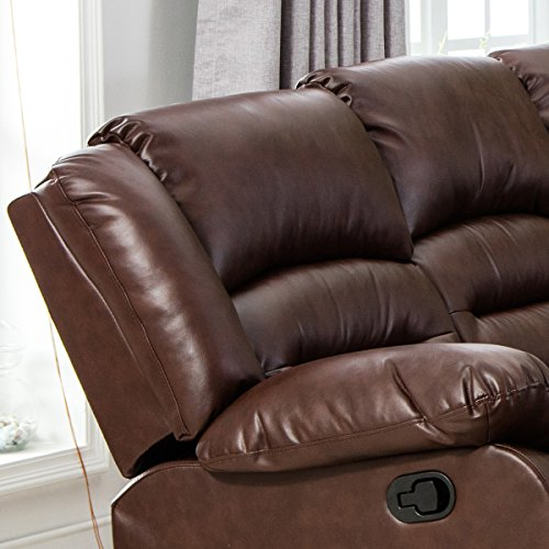 Giantex 3Pc Black Motion Sofa Loveseat Recliner Set Living Room Bonded Leather Furniture (Three Seat, Espresso)