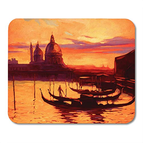 Promenade Oil Painting - Semtomn Gaming Mouse Pad Landscape Promenade and Pier Gondola in Venice Oil Painting 9.5