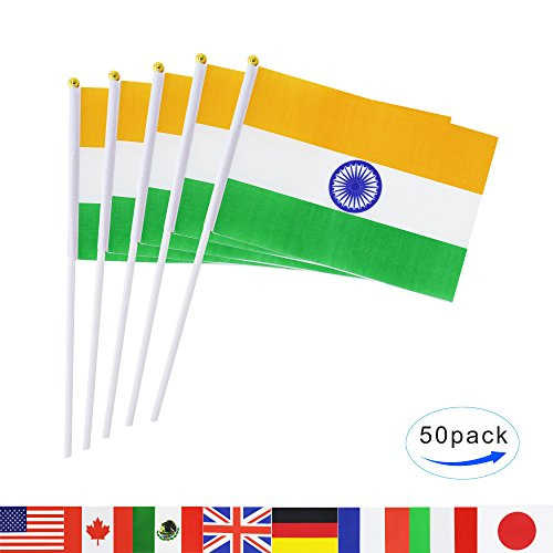 Club Flag (India Stick Flag,TSMD 50 Pack Hand Held Small Indian National Flags On Stick,International World Country Stick Flags Banners,Party Decorations For Olympics,Sports Clubs,Festival Events Celebration)