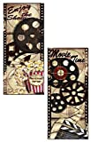 Movie Night! Classic Old-Fashioned Cinema ''Enjoy the Show'' and ''Movie Time'' Panel Set by Tre Sorelle Studios; Two 8x18in Unframed Paper Posters