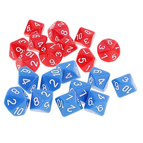 Baoblaze 10面ダイス D10 20点セット アクリル 多面 サイコロ ボードゲーム 赤&青の商品画像