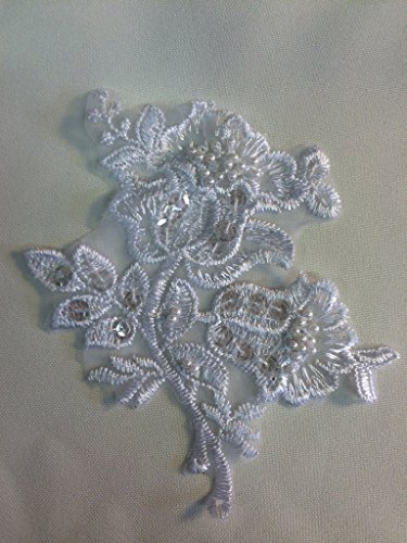 20 Piece, Double Growing Flower, Beaded, Sequined Piece on Organza, Ivory, - Individual Flowers Organza