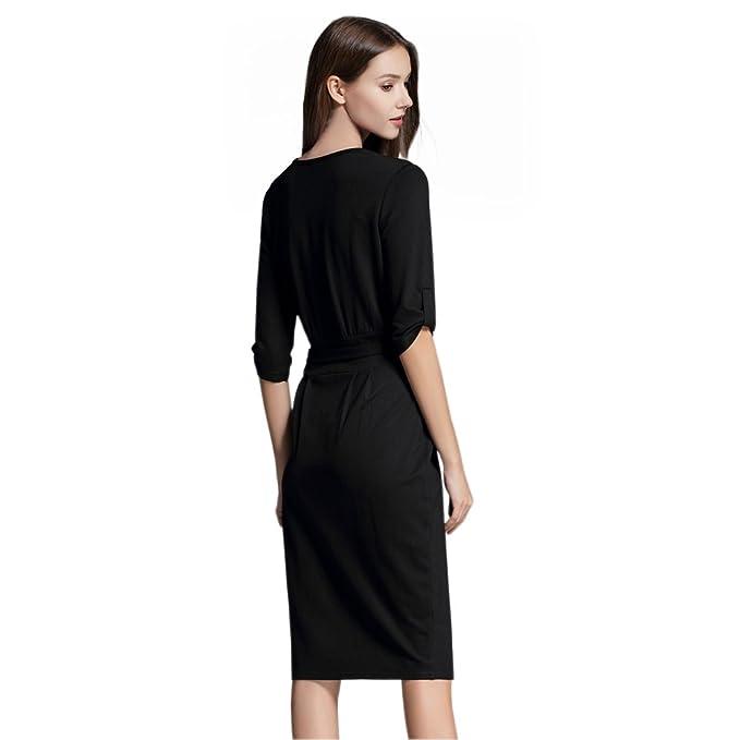 Yomeni Women's Elegant Slim Wear To Work Casual Pencil Dress With Belt:  Amazon.co.uk: Clothing