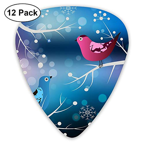 MOANDJI Winter with Birds Guitar Picks, 12 Pack Unique Designs Stylish Colorful Guitar Picks for Bass, Electric and Acoustic Guitars